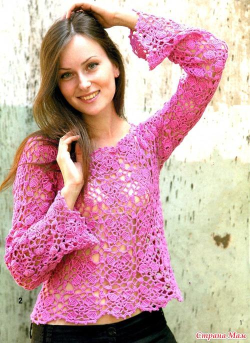 Розовый пуловер (крючок)