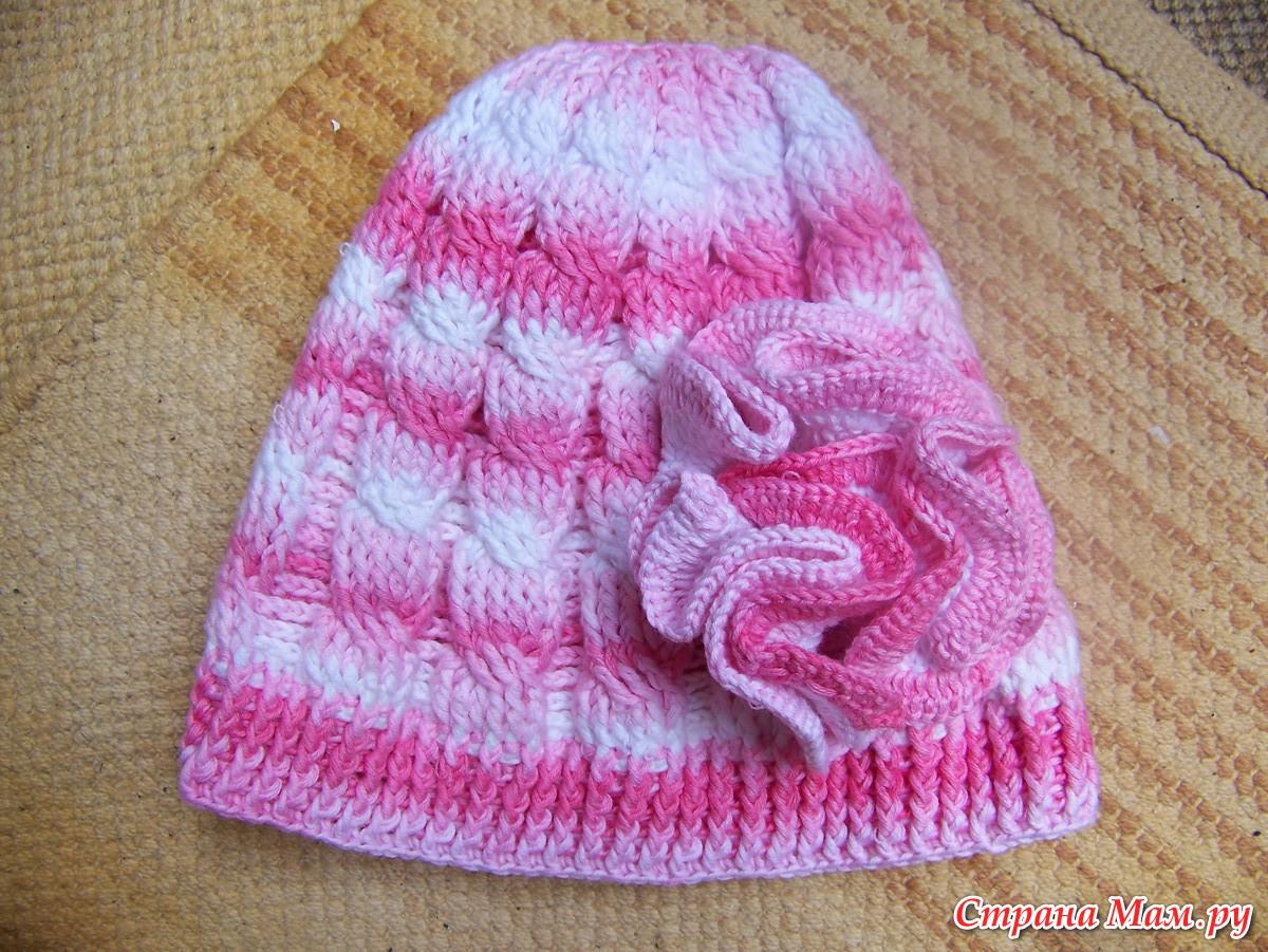 Вязание шапки с поперечной косой 62