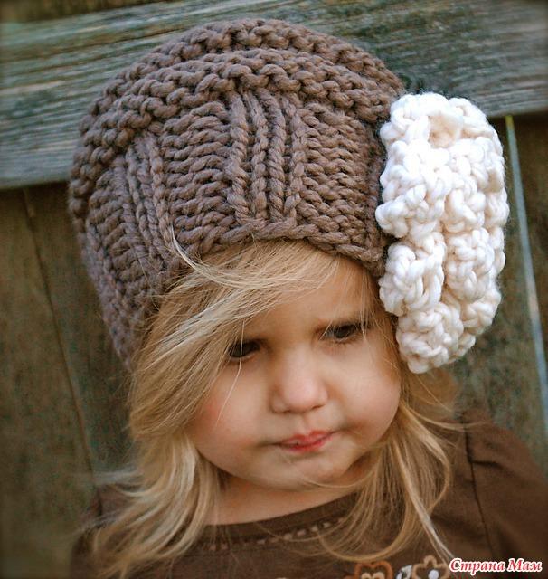 вязанные шапки детские для девочки спицами схема