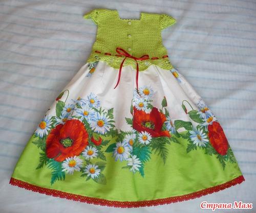 Комбинированное платье или сарафан для наших малышек... он-лайн