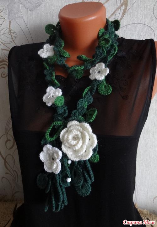 Вязание палантина с розами 144