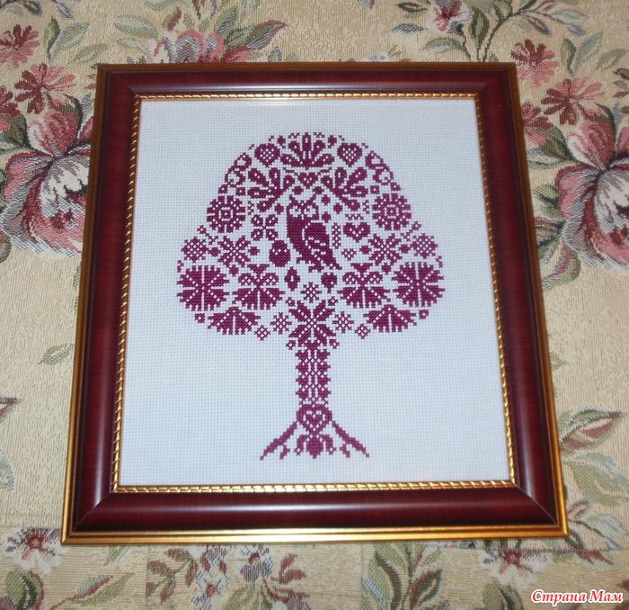 Вышивка крестом дерево с совой