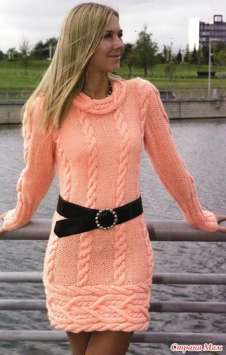 Ассиметричный пуловер с косами