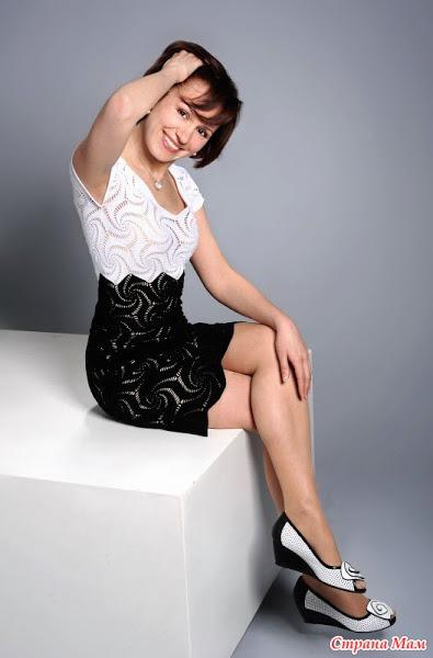 六角形图案的礼服,黑色和白色 - 夏听雨 - 夏听雨的编织生活