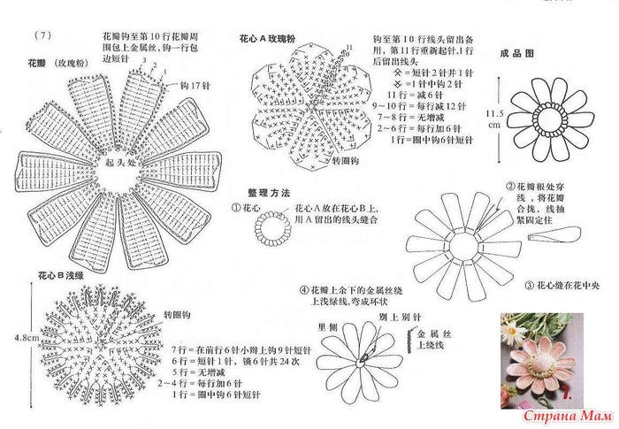 Ромашка крючком схемы вязание объемных цветов крючком мастер класс 77
