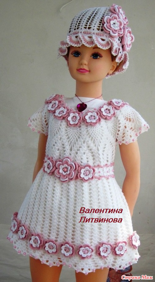 Вязание крючком детские платья и оформление цветочками 23