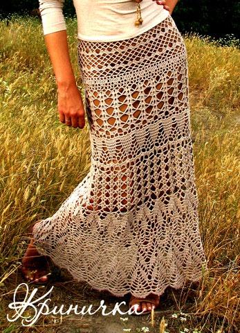 Схема юбки макси крючком