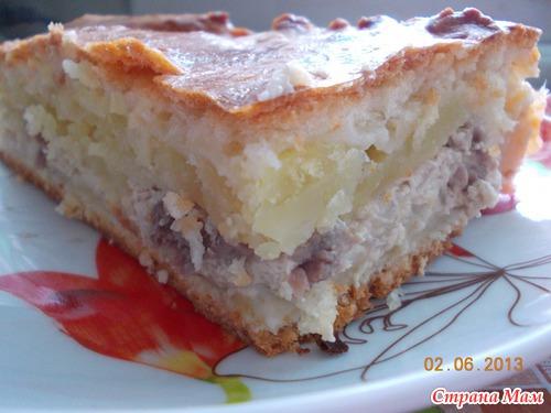 Простое дрожжевое тесто на пирог))) с мясом и картошкой))