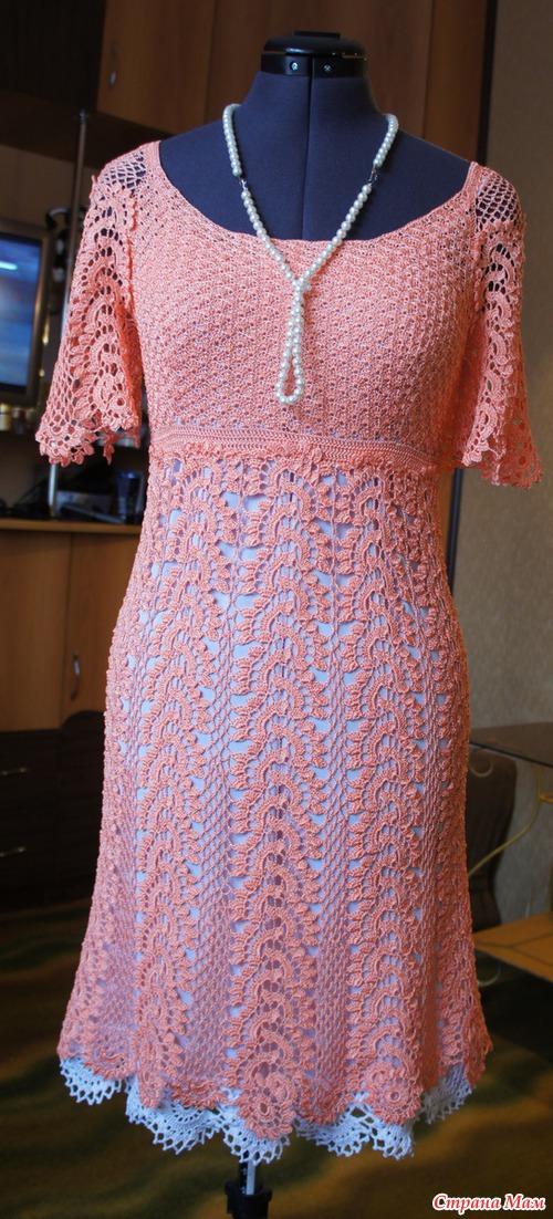Вязание платье ленточным кружевом 8
