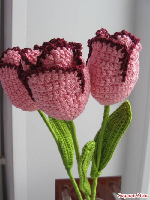 Тюльпаны крючком
