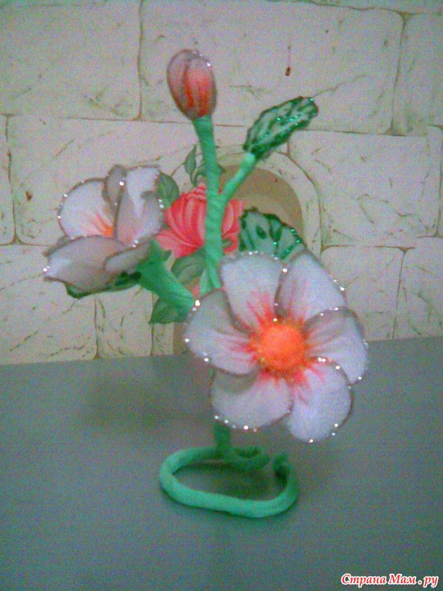 Фото мк цветов из капрона и