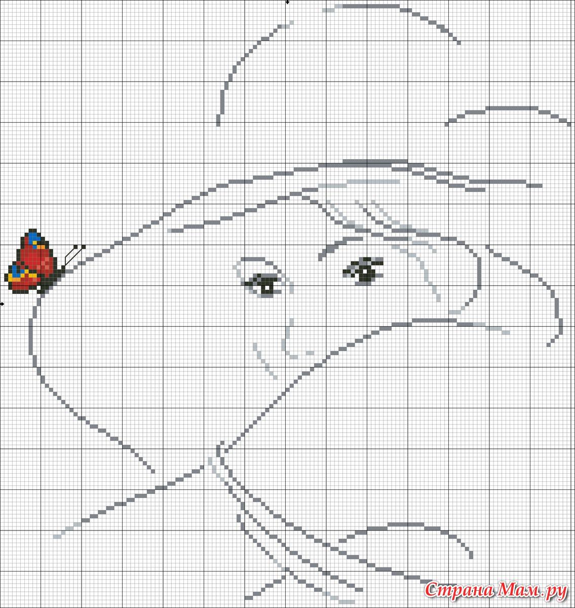 Схема вышивания девушка в шляпе