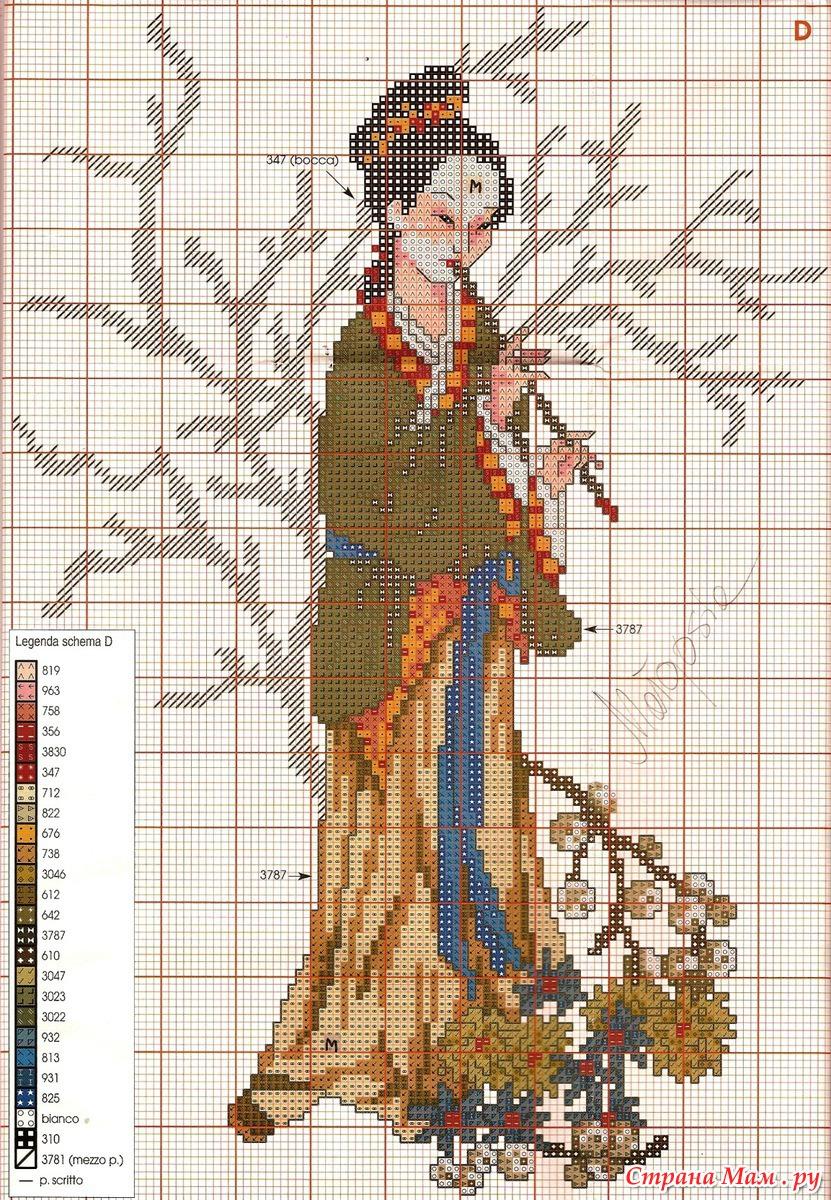 Схемы вышивки восточная женщина