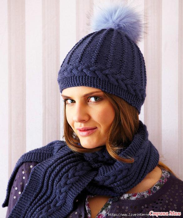 Шапки, шарфы Вязание спицами,