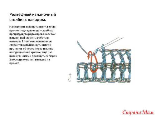 Как вязать лицевые и изнаночные рельефные столбики крючком