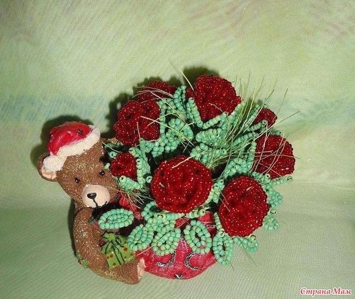 Цветы и деревья из бисера , паеток и каменной крошки.  Фотография в альбоме.