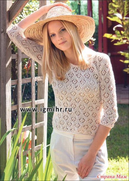 Летний пуловер ажурным узором