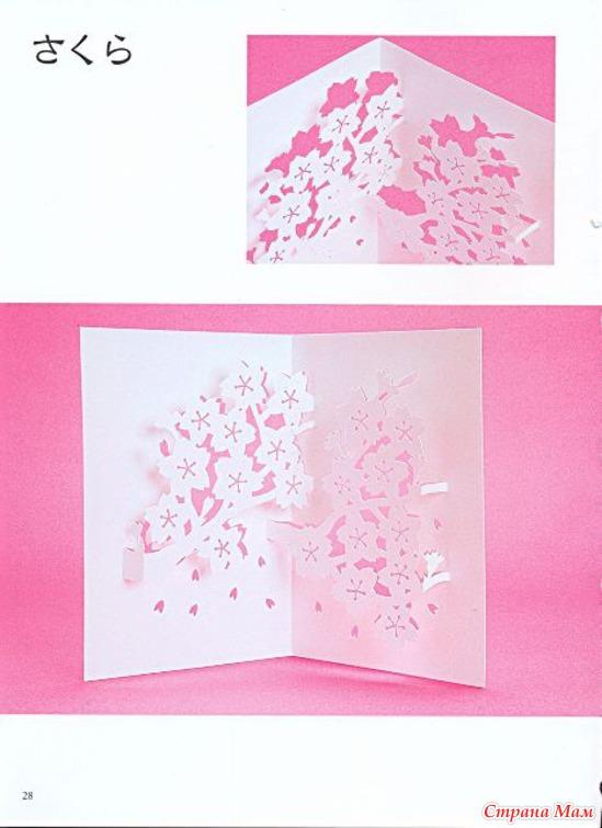 Открытка с цветами внутри с схемой