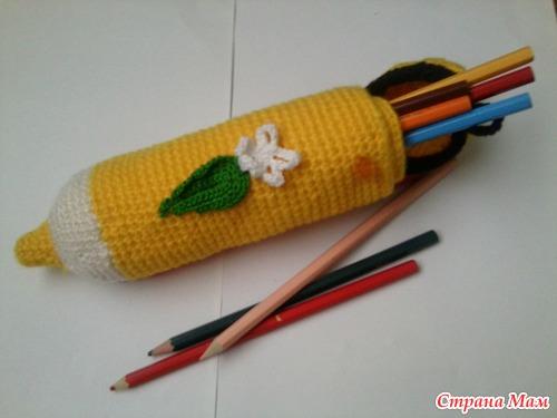 Вязаный пенал для карандашей - Поделки - Страна Мам