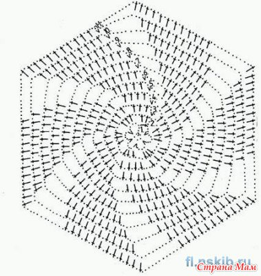 Шестиугольные мотивы крючком схемы и фото