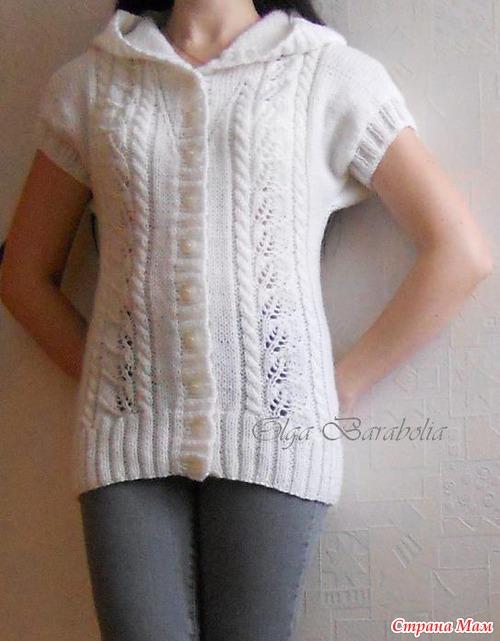белый жилет с капюшоном вязание страна мам
